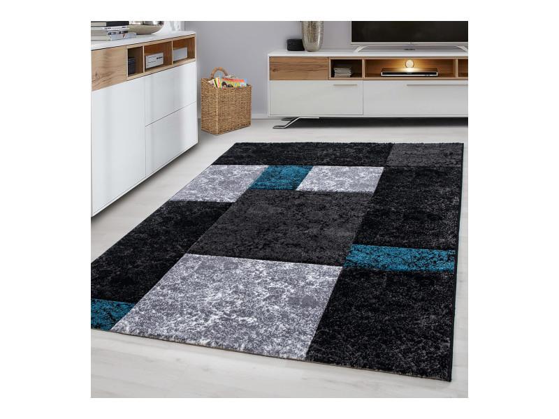 tapis relief geo 200x290cm noir bleu