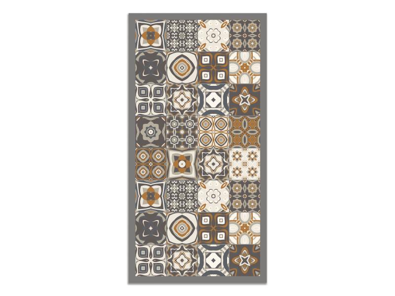 panorama tapis du sol vinyle carreaux de ciments orange 40 x 80 cm tapis de cuisine en pvc linoleum vinyle antiderapant lavable ignifuge tapis