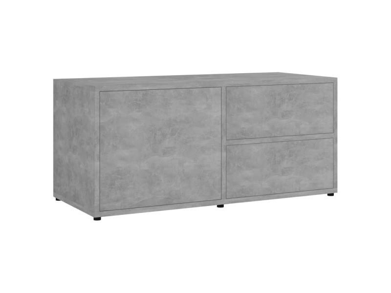 icaverne meubles tv famille meuble tv gris beton 80x34x36 cm agglomere