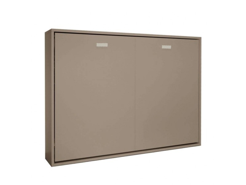 armoire lit horizontale escamotable strada v2 taupe mat couchage 140 200cm