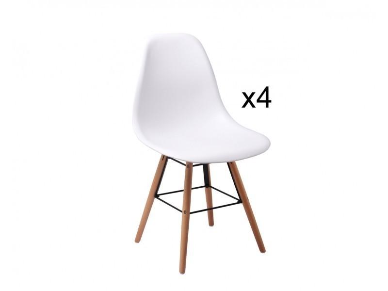 lot de 4 chaises design blanche nina