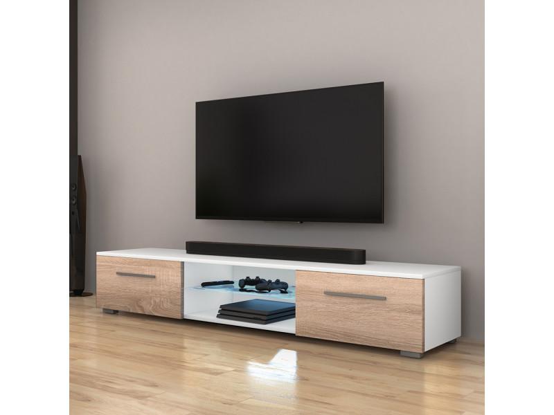 meuble tv syvis 140 cm blanc mat effet chene avec led bleue