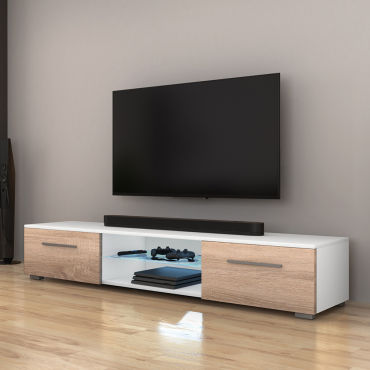 meuble tv syvis 140 cm blanc mat