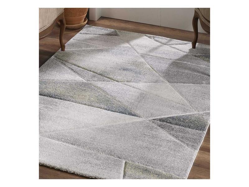 tapis design et moderne 120x170 cm rectangulaire kla basi gris salon adapte au chauffage par le sol