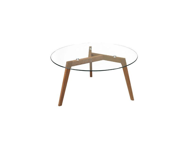 table base ronde diametre 90cm en chene plateau en verre