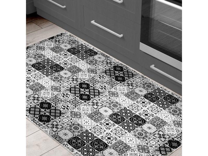 carreaux de ciment tapis motifs carreaux de ciment noir 90x130