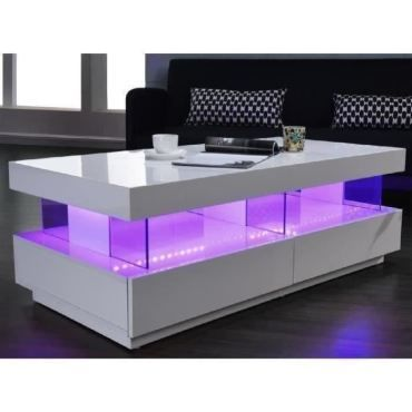 table basse light table basse led contemporain laque blanc brillant 120cm v85681061