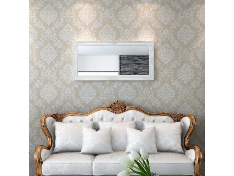icaverne miroirs reference miroir mural style baroque 120 x 60 cm blanc