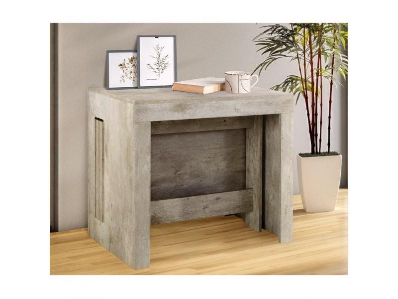 table console extensible 12 couverts longo 300 cm finition beton avec 5 allonges integrees