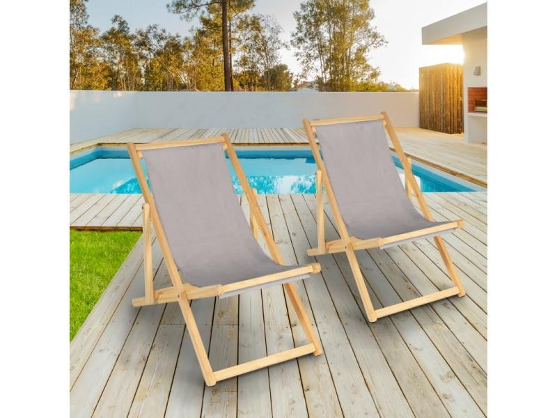 lot de 2 chaises longues pliantes chilienne bois avec toile taupe
