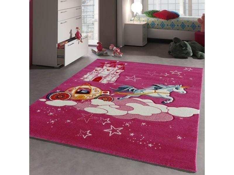 tapis chambre chateau licorne rose 60 x 110 cm tapis pour enfants chambre par unamourdetapis