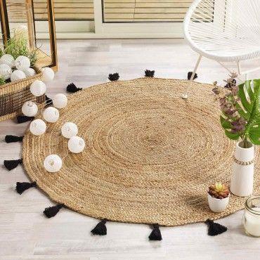 https www conforama fr decoration textile tapis tapis salon et chambre tapis rond 120 cm jute shira noir p p28641736