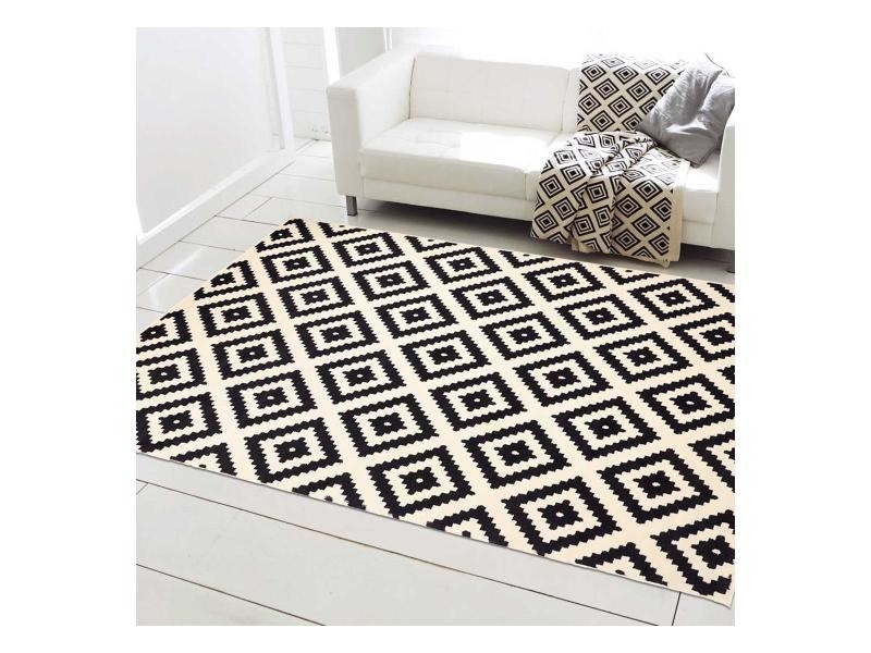 tapis design et moderne 120x170 cm rectangulaire orma noir salon adapte au chauffage par le sol