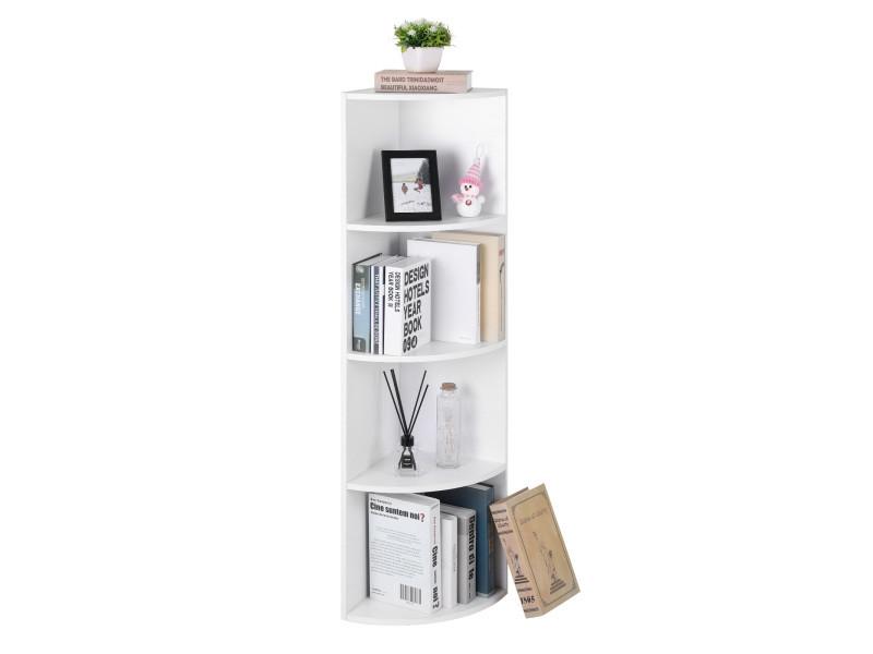 vasagle etagere d angle a 4 niveaux etageres de rangement autoportantes bibliotheque en bois blanche lbc42wt