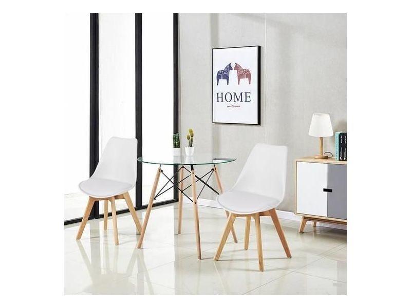 ensemble table ronde a manger de 2 a 4 personnes cuisine scandinave en verre pieds en bois 2 blanc chaises scandinaves 54 54 82cm