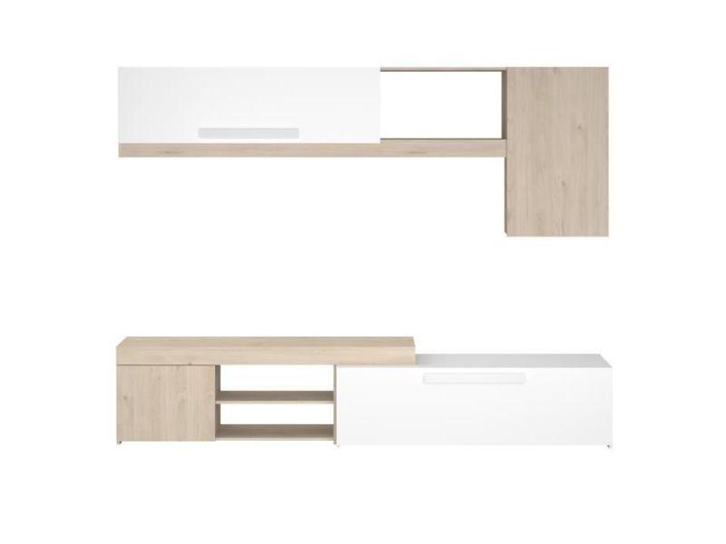 living meuble tv mural complet backstage meuble tv decor chene jackson et blanc brillant l 250cm