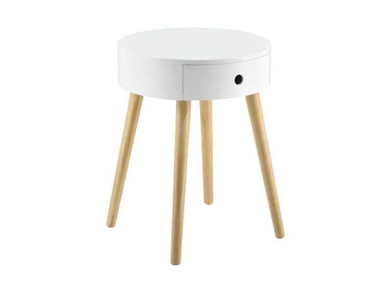 en casa petite table ronde avec tiroir commode table de nuit table de chevet meuble de rangement mdf laque et pin blanc 50 x 38 x 38 cm