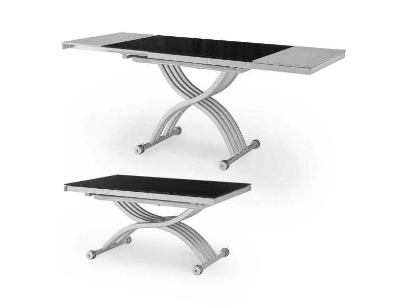 table basse relevable 2 allonges noir et gris studio