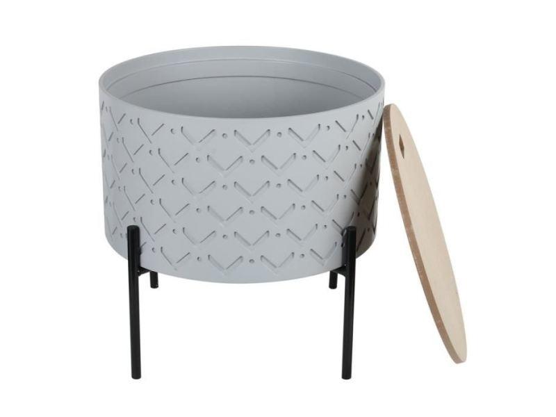 table d appoint table de complement gueridon table d appoint coffre bois gris l 35 x p 35 x h 35 cm