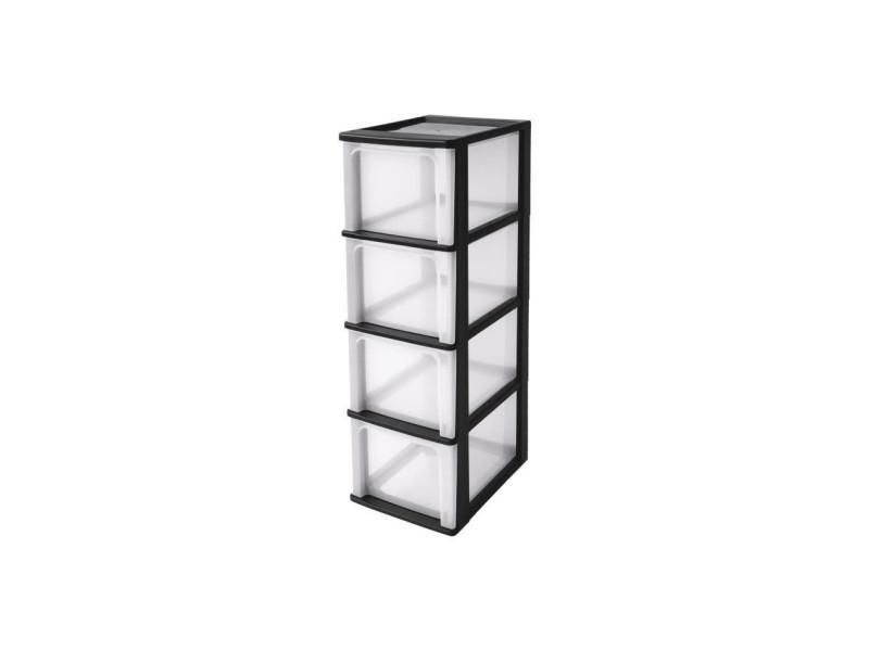 tour de rangement 4 tiroirs plastique noir 52 l 35 5 x 26 x 80 cm
