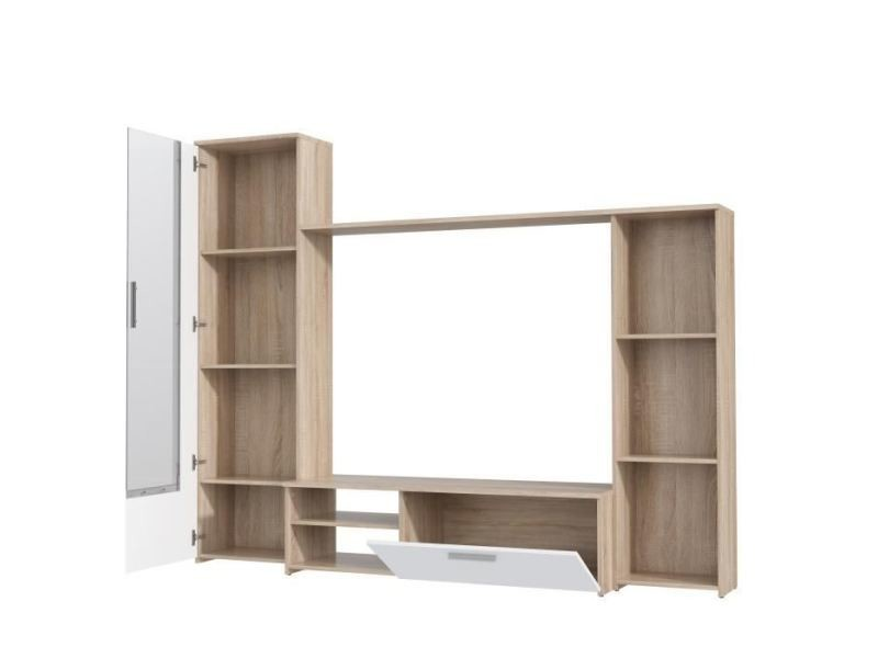 meuble tv meuble hi fi meuble tv mural pilvi contemporain decor chene sonoma et blanc mat l 220 4 cm