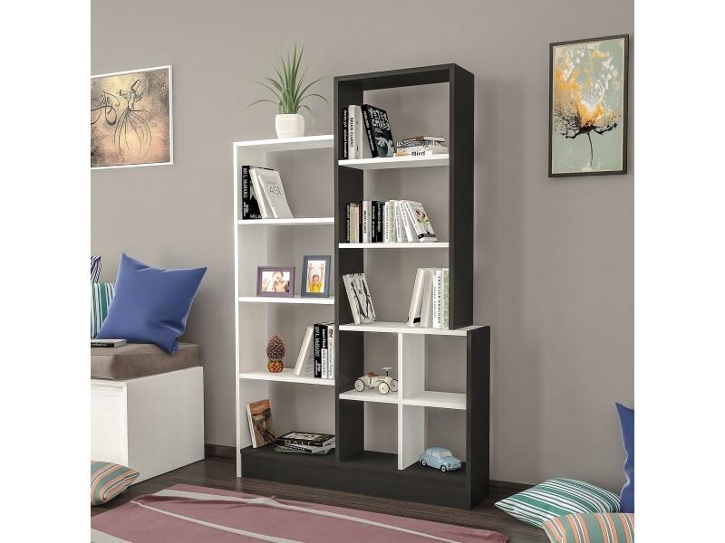 homemania bibliotheque monde avec etageres meuble de rangement pour salon bureau noir blanc en bois 102 2 x 22 x 160 8 cm