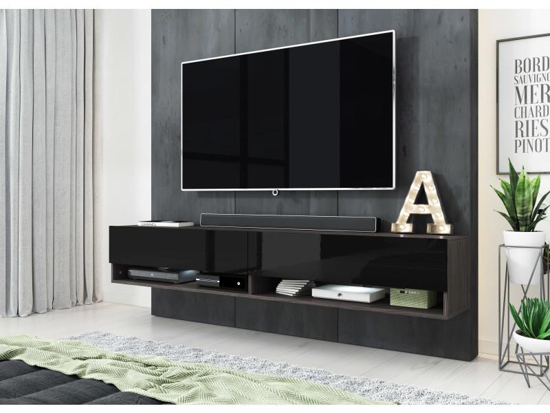 furnix meuble tv style industriel alyx 180 cm chene bodega noir avec led