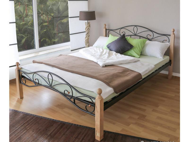 lit design en metal noir et bois naturelle 160 x 200 cm pegane