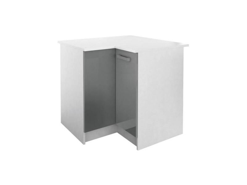 start meuble de cuisine bas d angle avec plan de travail l 88 x p 88 cm gris brillant
