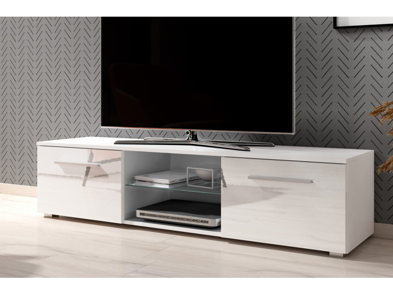 meuble tv banc tv tenus 140 cm blanc mat blanc brillant sans led