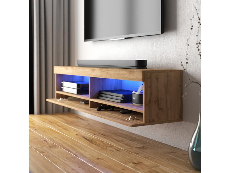 meuble tv viansola 100 cm chene lancaster eclairage led