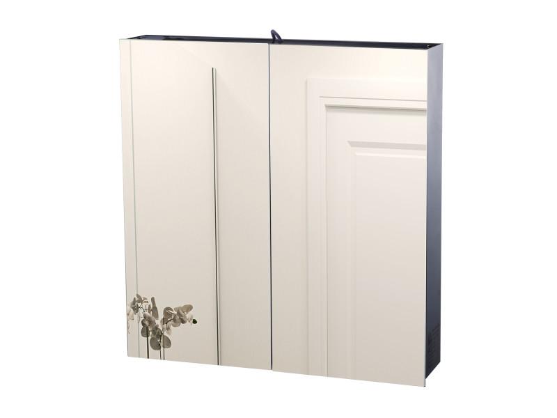 armoire de salle de bain armoire a pharmacie miroir double porte 3 niveaux eclairage led interieur 60l x 11l x 60h cm acier inoxydable