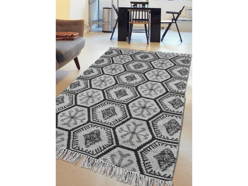 tapis moderne pour salon kilim salma reversible gris 80 x 150 cm