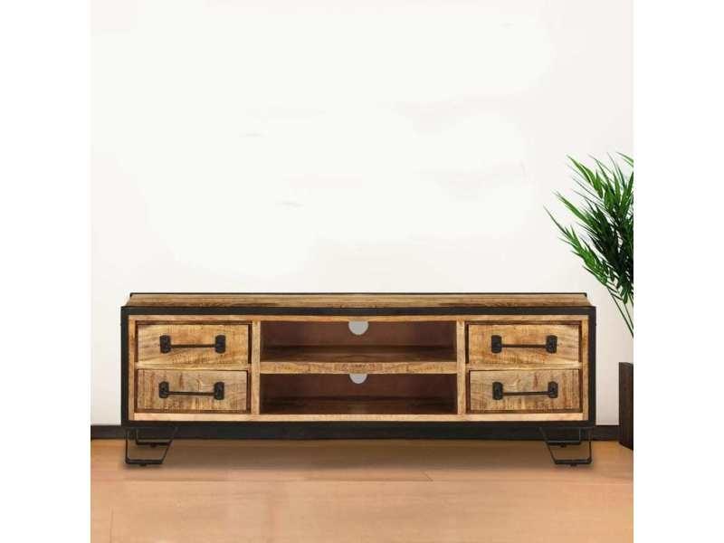 vidaxl meuble tv avec tiroirs 120 x 30 x 40 cm bois massif de manguier