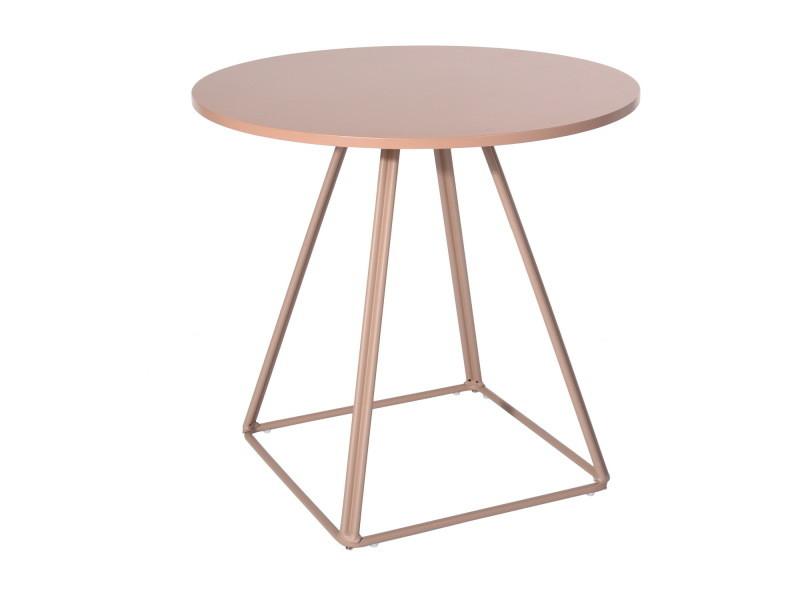 4 personnes table a manger ronde blanche 80cm rose
