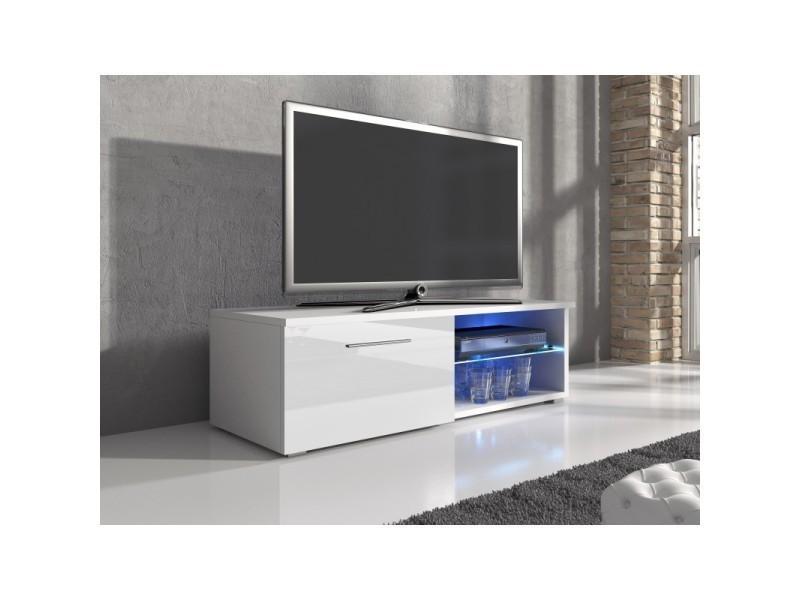 meuble tv blanc laque porte