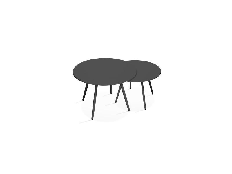tables basses de jardin en metal palavas acier gris