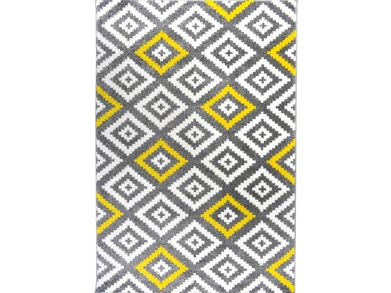 forsa losange tapis de salon scandinave en polypropylene 50 cm x 80 cm jaune