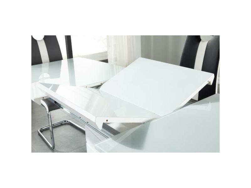 table a manger seule ice table a manger extensible de 8 a 10 personnes style contemporain laque blanc brillant avec socle en acier l 160 220 x l 80