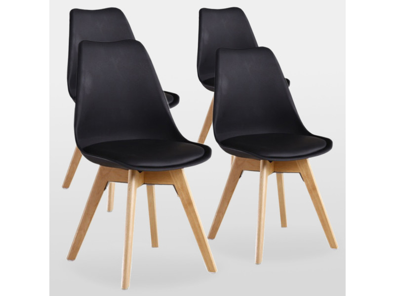 lot de 4 chaises scandinaves noires lorenzo assise rembourree salle a manger cuisine ou bureau