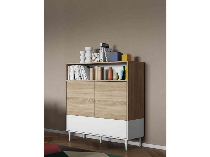 commode en bois blanc avec placard et niche de rangement co6003