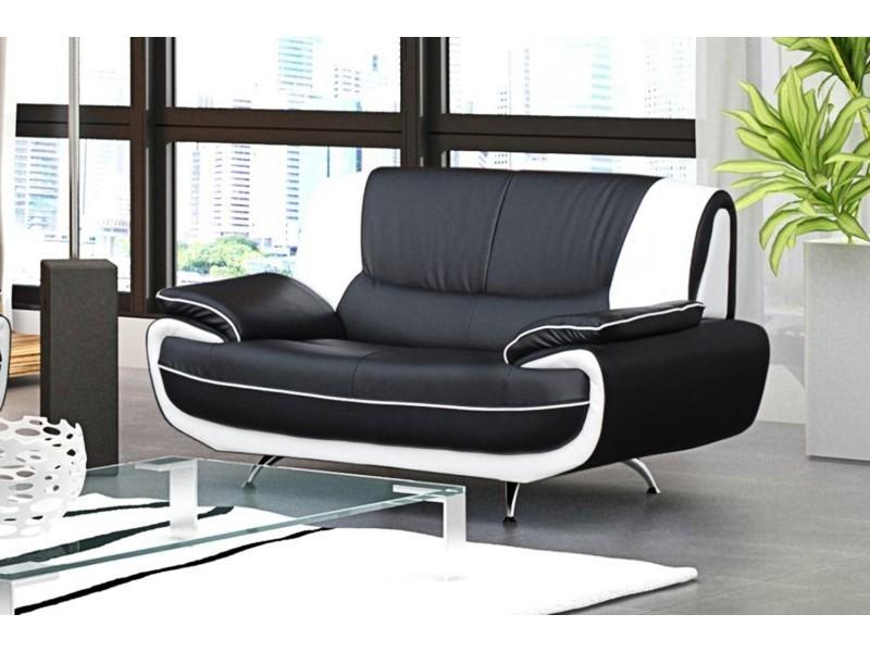canape 2 places design noir et blanc marita