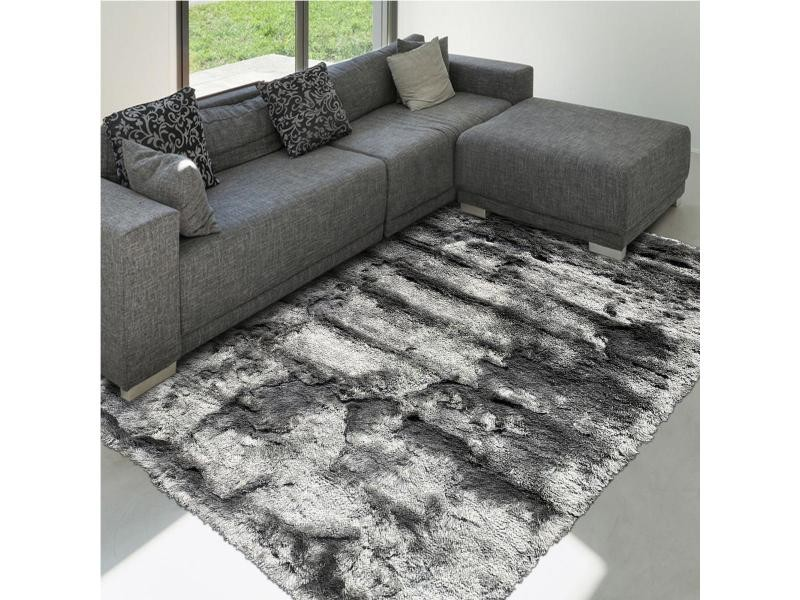 tapis shaggy poils long 90x160 cm rectangulaire sg fin gris chambre tufte main adapte au chauffage par le sol