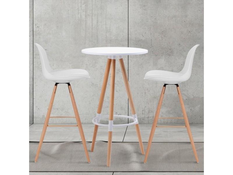 table haute de bar ronde scandinave sara blanche