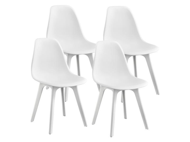 en casa set de 4 chaises design chaise de cuisine chaise de salle a manger plastique blanc 83 x 54 x 48 cm