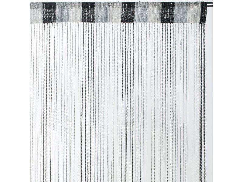 rideau fils tricolore brillant noir dimensions 90x240cm
