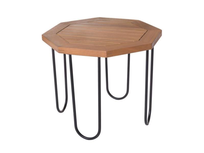 table d appoint d exterieur metal bois d acacia maiao n 1 l 45 x l 45 x h 36 neuf