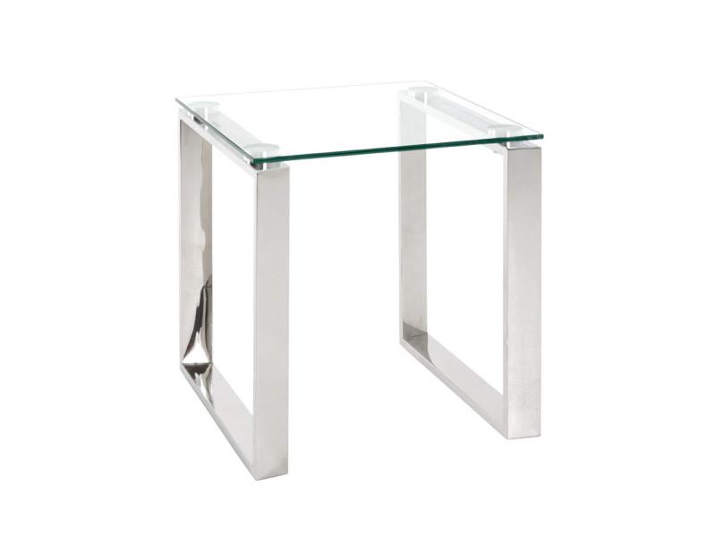 table d appoint en verre trempe transparent 42 x 42 x 45 cm pegane
