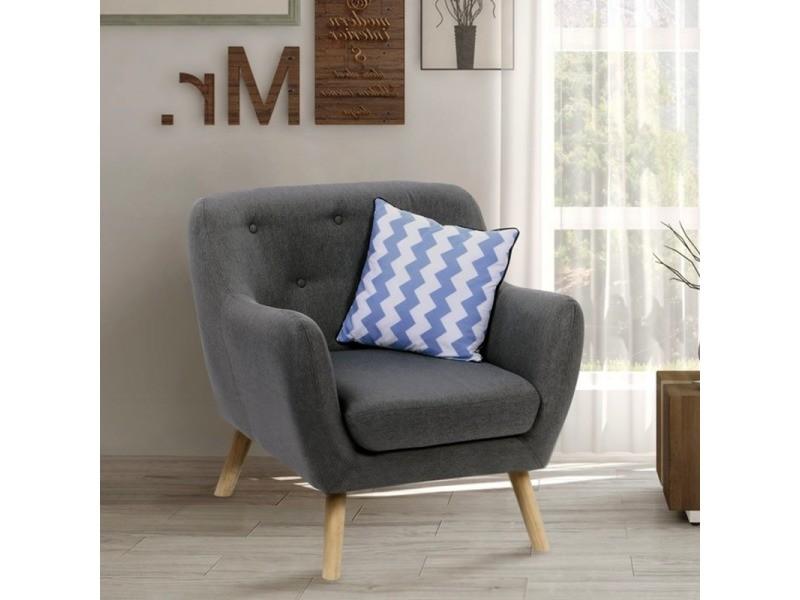 fauteuil scandinave en tissu gris anthracite vente de id market conforama