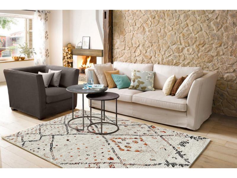 asma tapis de salon style berbere en polypropylene 120x170 cm beige et noir